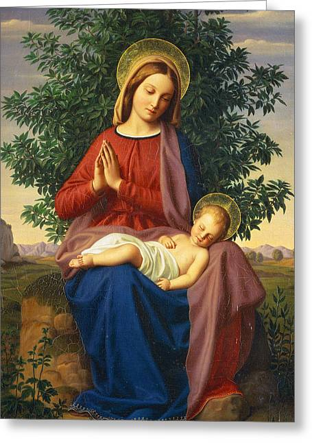 Virgin Greeting Cards - The Madonna and Child Greeting Card by Julius Schnorr von Carolsfeld