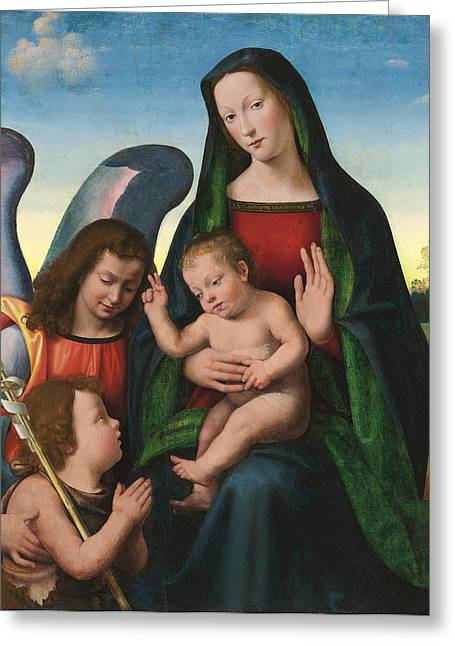 Child Jesus Greeting Cards - The Madonna and Child with the Young Saint John the Baptist and an Angel  Greeting Card by Giuliano Buigardini and Mariotto Albertinelli