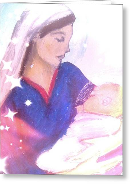 Mary Pastels Greeting Cards - The Madonna Greeting Card by Eliza Paul