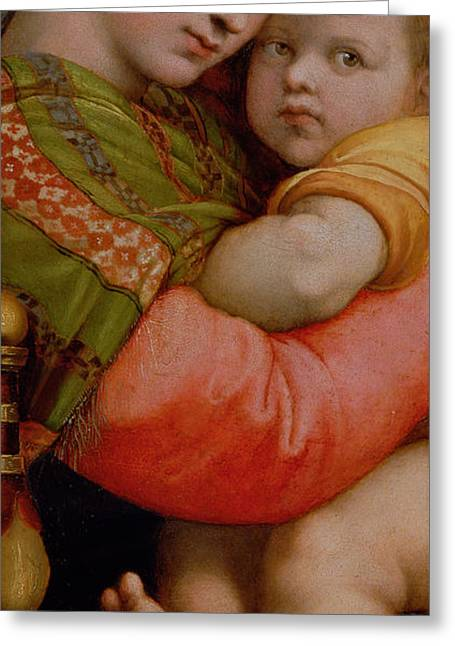 Child Jesus Greeting Cards - The Madonna of the Chair Greeting Card by Raphael