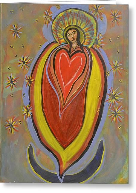 Gold Star Mother Greeting Cards - The Madonna of the Heart and Moon Greeting Card by Kathryn Bonner