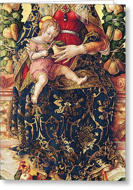 Virgin Mary Greeting Cards - The Madonna of the Little Candle Greeting Card by Carlo Crivelli