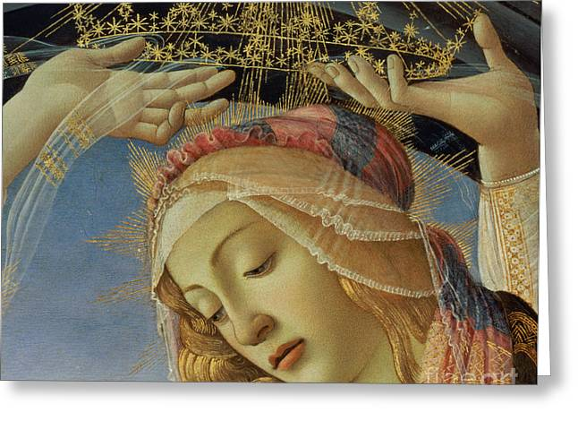 Crowned Head Greeting Cards - The Madonna of the Magnificat Greeting Card by Sandro Botticelli