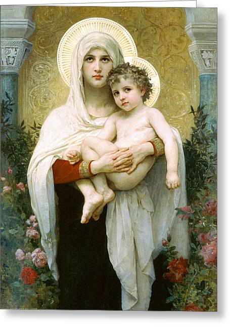 The Madonna Of The Roses Greeting Card by William-Adolphe Bouguereau