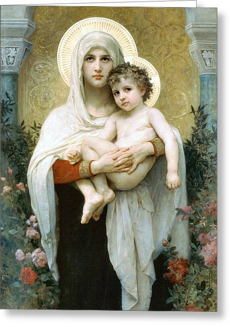 The Madonna Of The Roses Greeting Card by William Bouguereau