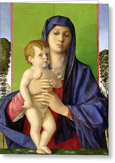Christ Child Greeting Cards - The Madonna of the Trees Greeting Card by Giovanni Bellini