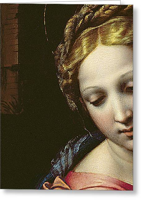 Close Up Paintings Greeting Cards - The Madonna Greeting Card by Raphael
