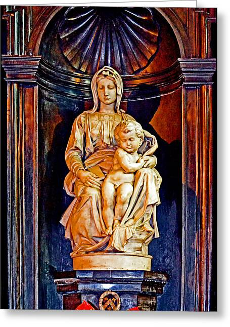 Michelangelo Greeting Cards - The Madonna with Child by Michelangelo. Greeting Card by Andy Za