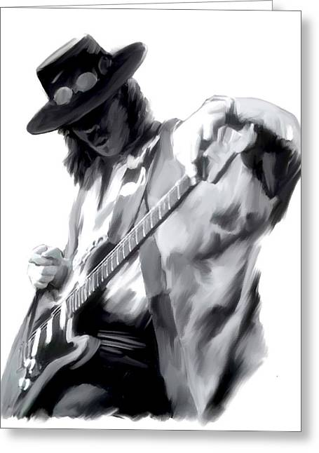 Photographs Drawings Greeting Cards - The Maestro   Stevie Ray Vaughan Greeting Card by Iconic Images Art Gallery David Pucciarelli