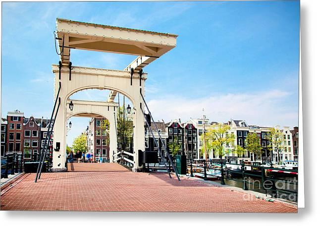 Skinny Greeting Cards - The Magere Brug Skinny Bridge Amsterdam Greeting Card by Michal Bednarek