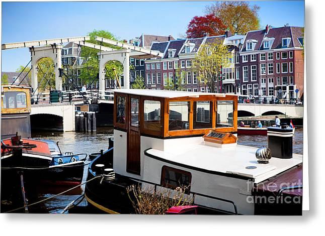 Skinny Greeting Cards - The Magere Brug Skinny Bridge in Amsterdam Greeting Card by Michal Bednarek