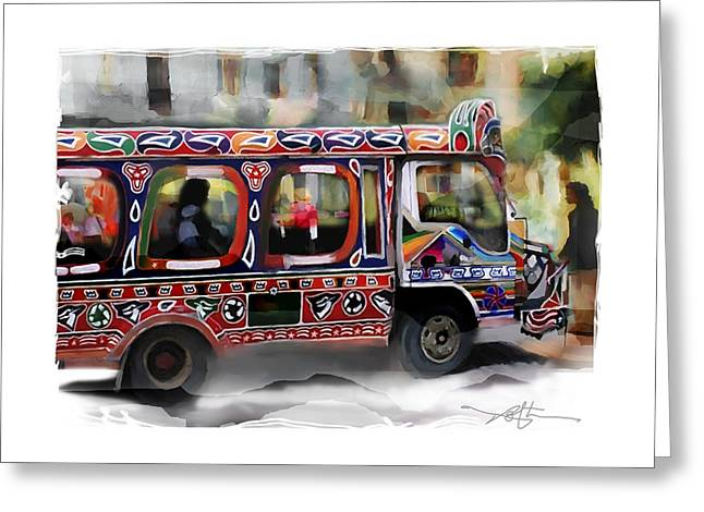 Tropical Island Greeting Cards - The Magic Bus Greeting Card by Bob Salo