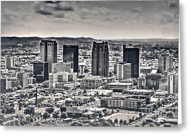 University Of Alabama Greeting Cards - The Magic City BW Greeting Card by Ken Johnson