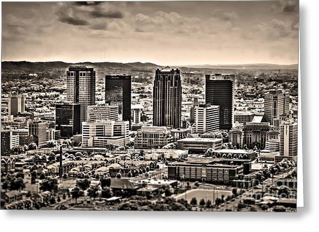 University Of Alabama Greeting Cards - The Magic City Sepia Greeting Card by Ken Johnson