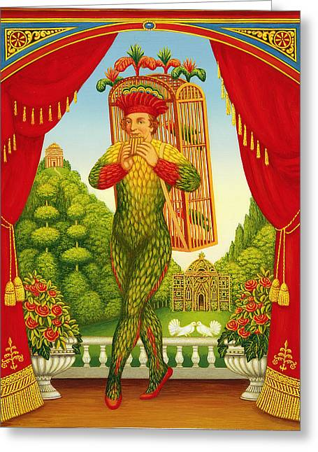 Panpipes Greeting Cards - The Magic Flute, 1998 Oil & Tempera On Panel Greeting Card by Frances Broomfield