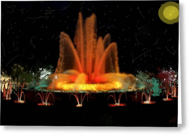 Jet Star Greeting Cards - The Magic Fountain Greeting Card by Bruce Nutting