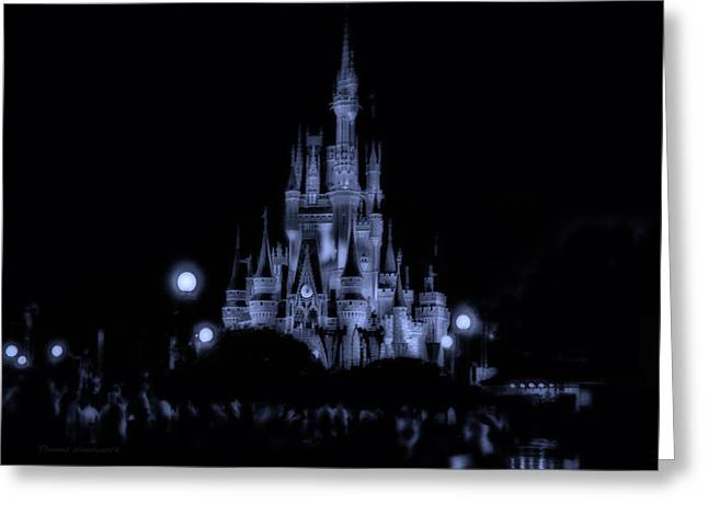 World Showcase Lagoon Greeting Cards - The Magic Kingdom Castle At Midnight In Blue Greeting Card by Thomas Woolworth