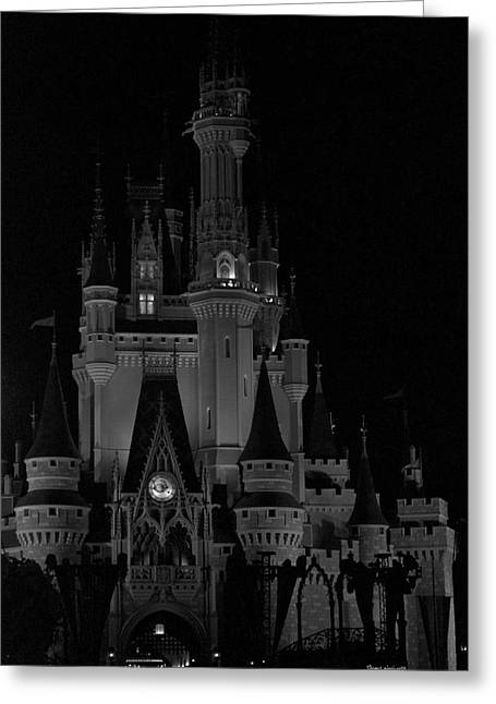 Cinderella Photographs Greeting Cards - The Magic Kingdom Castle in Black and White Walt Disney World FL Greeting Card by Thomas Woolworth