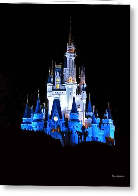 Experimental Prototype Community Of Tomorrow Greeting Cards - The Magic Kingdom Castle in Blue Walt Disney World FL Greeting Card by Thomas Woolworth