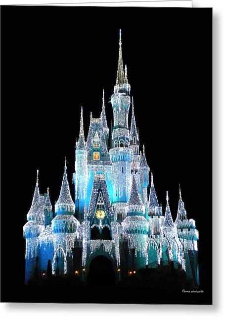 Wdw Greeting Cards - The Magic Kingdom Castle in Frosty Light Blue Walt Disney World Greeting Card by Thomas Woolworth