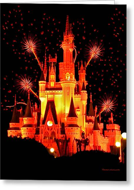 World Showcase Lagoon Greeting Cards - The Magic Kingdom Castle in Orange Walt Disney World FL Greeting Card by Thomas Woolworth