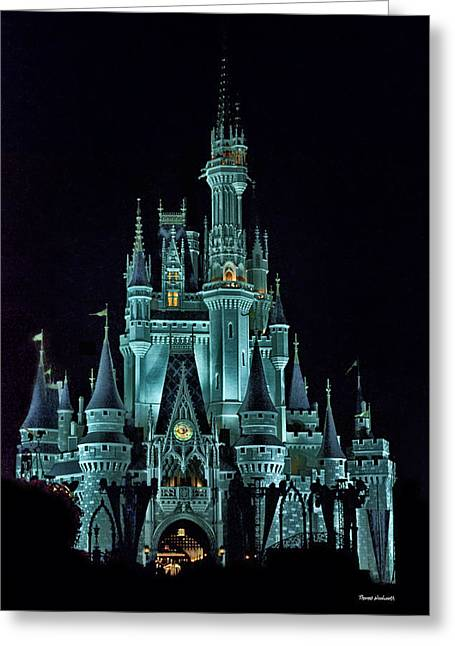 World Showcase Lagoon Greeting Cards - The Magic Kingdom Castle in Teal Walt Disney World FL Greeting Card by Thomas Woolworth