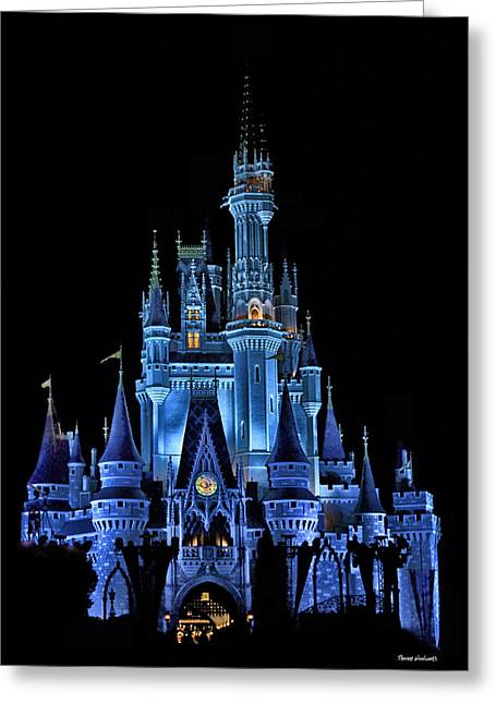 World Showcase Lagoon Greeting Cards - The Magic Kingdom Castle in Very Deep Blue Walt Disney World FL Greeting Card by Thomas Woolworth