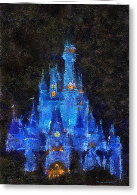 Hospital Theme Greeting Cards - The Magic Kingdom Castle In Very Deep Blue WDW 02 Photo Art Greeting Card by Thomas Woolworth