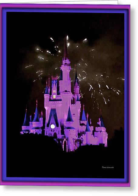 World Showcase Lagoon Greeting Cards - The Magic Kingdom Castle in Violet Walt Disney World FL Greeting Card by Thomas Woolworth