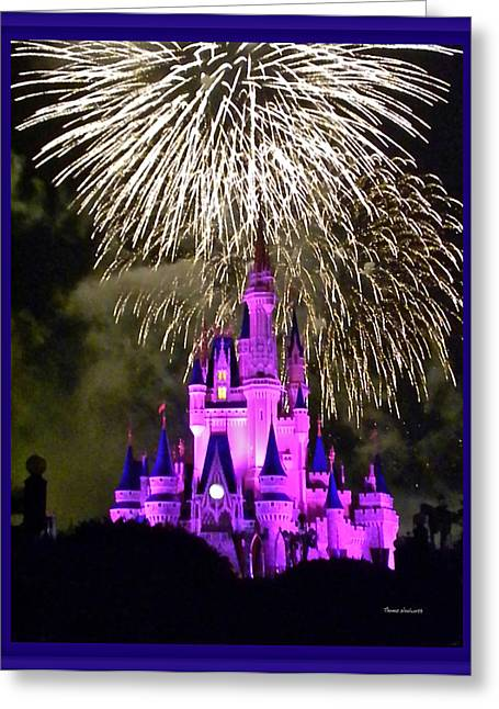Epcot Center Greeting Cards - The Magic Kingdom Castle in Violet with fireworks Walt Disney World FL Greeting Card by Thomas Woolworth