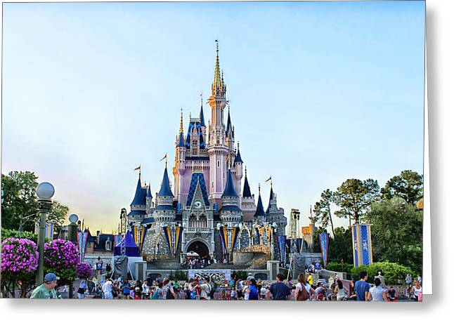 Epcot Center Greeting Cards - The Magic Kingdom Castle On A Beautiful Summer Day Horizontal Greeting Card by Thomas Woolworth