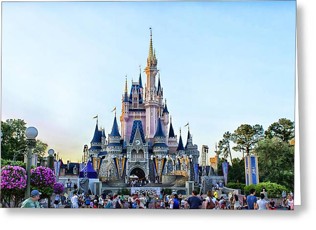 Wdw Greeting Cards - The Magic Kingdom Castle On A Beautiful Summer Day Horizontal Greeting Card by Thomas Woolworth