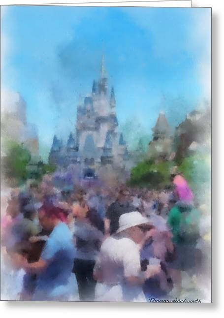 Hospital Theme Greeting Cards - The Magic Kingdom Castle WDW 01 Photo Art Greeting Card by Thomas Woolworth