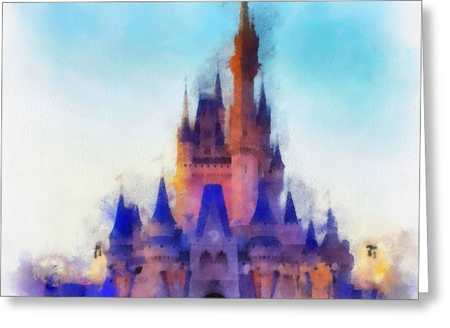 Hospital Theme Greeting Cards - The Magic Kingdom Castle WDW 03 Photo Art Greeting Card by Thomas Woolworth