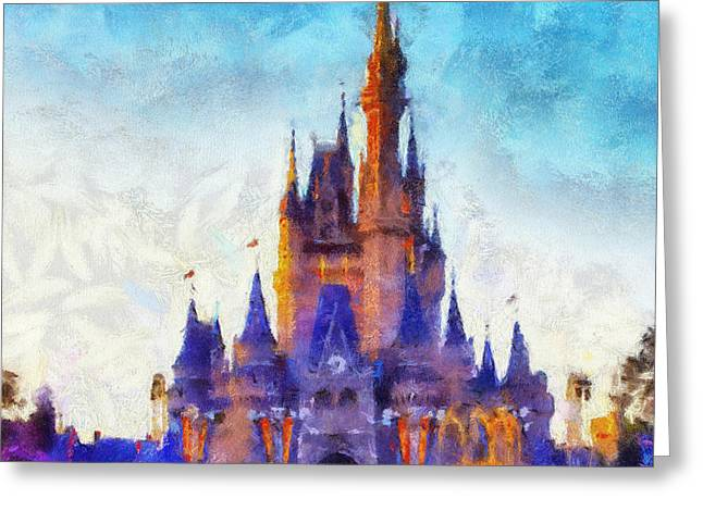 Hospital Theme Greeting Cards - The Magic Kingdom Castle WDW 04 Photo Art Greeting Card by Thomas Woolworth