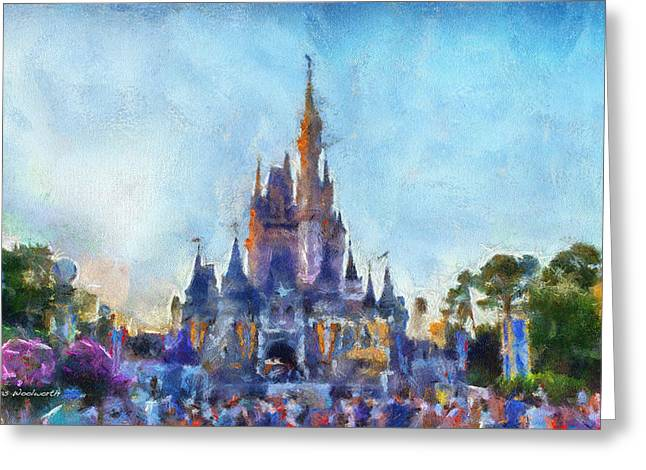 Hospital Theme Greeting Cards - The Magic Kingdom Castle WDW 06 Photo Art Greeting Card by Thomas Woolworth