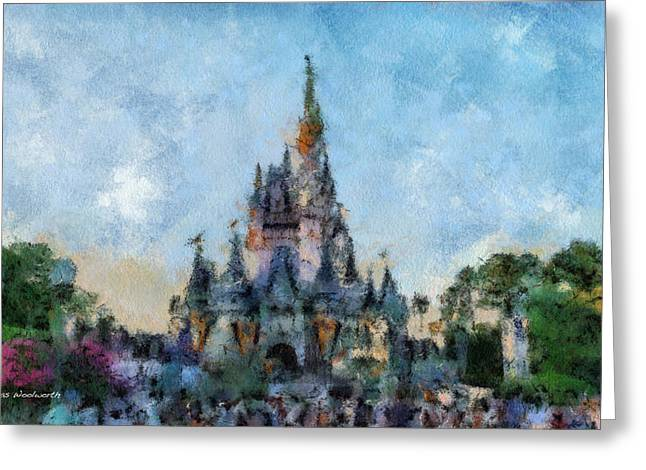 Hospital Theme Greeting Cards - The Magic Kingdom Castle WDW 07 Photo Art Greeting Card by Thomas Woolworth