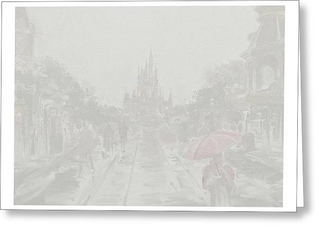 Amusements Drawings Greeting Cards - The Magic Kingdom in the Rain Greeting Card by Lance Shaffer