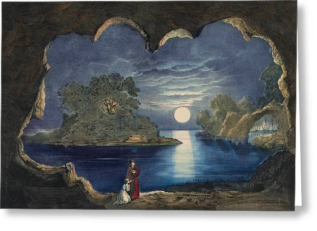 Woman Of The Forest Greeting Cards - The magic Lake Circa 1856  Greeting Card by Aged Pixel