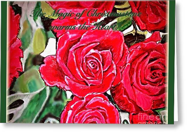 Dappled Light Digital Art Greeting Cards - The Magic of Christmastime in Red Roses Traditional Greeting Card by Kimberlee  Baxter