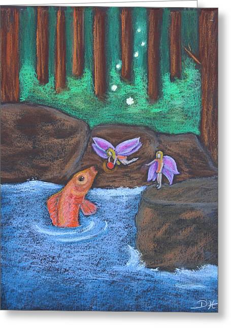 Salmon Pastels Greeting Cards - The Magic Salmon Greeting Card by Diana Haronis