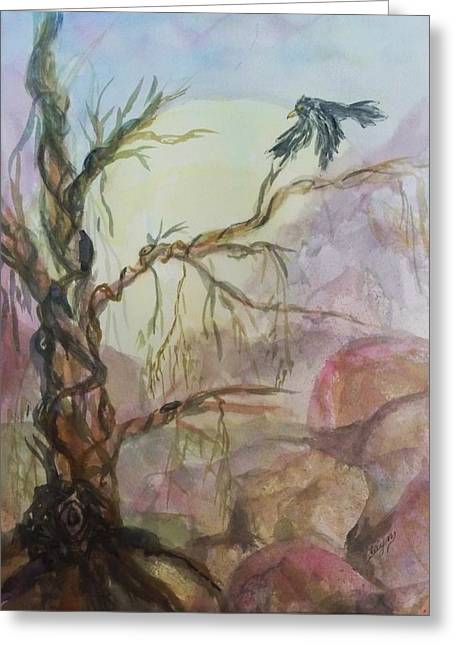 Tree Roots Mixed Media Greeting Cards - The Magic Tree Greeting Card by Ellen Levinson