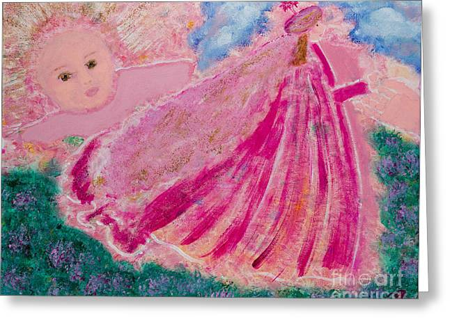 Flower Pink Fairy Child Greeting Cards - The Magical Child Greeting Card by Pamela Venus