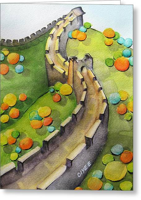 Oiyee Greeting Cards - The Magical Great Wall Greeting Card by Oiyee  At Oystudio