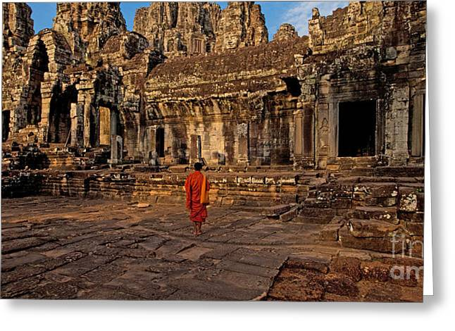 The Magical Light Of Bayon  Greeting Card by Pete Reynolds