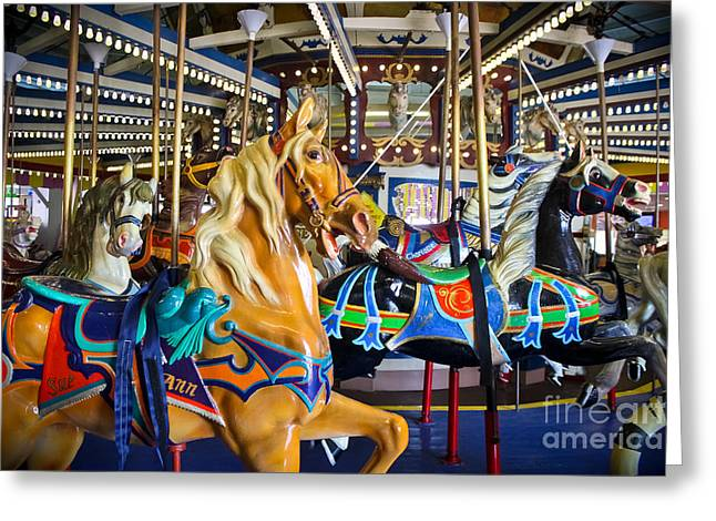Rotate Greeting Cards - The Magical Machine - Carousel Greeting Card by Colleen Kammerer