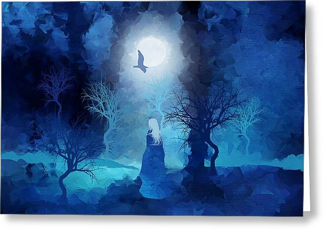Mystical Landscape Mixed Media Greeting Cards - The Magician Greeting Card by Paul Kimble