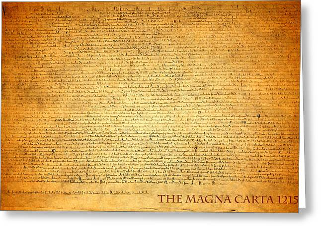 Pen Mixed Media Greeting Cards - The Magna Carta 1215 Greeting Card by Design Turnpike