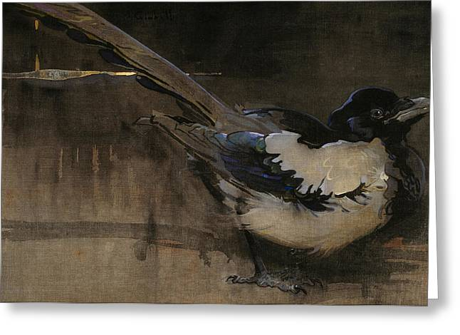 Bird Feet Greeting Cards - The Magpie Greeting Card by Joseph Crawhall