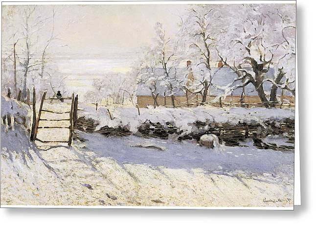 Best Sellers -  - Snow-covered Landscape Greeting Cards - The Magpie Snow Effect Greeting Card by Claude Monet